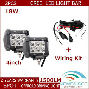 2x 4 18w Cube Led Work Light Bar Spot Boat Suv Atv Ute Offroad With Wiring Kit