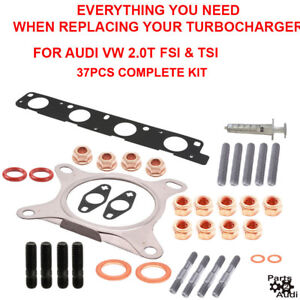 Oe Turbocharger Installation Kit Exhaust Gaskets o rings studs For Audi Vw 2 0t
