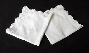 Vintage French Pillow Cases Pair Euro Shams In Linen With Hand Embroidery