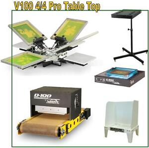 Complete Shop Vastex V 100 Screen Printing Press 4 Station 4 Color