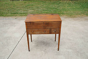 Antique Mid 1800 S Pine Dovetailed Primitive Slant Lift Top Schoolmaster S Desk
