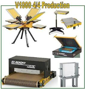 Vastex V 1000 Screen Printing Press 4 Station 4 Color Pro Shop