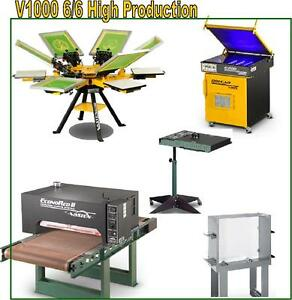 Vastex V 1000 Screen Printing Press 6 Station 6 Color High Production