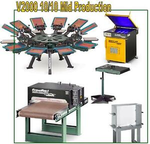 Vastex V 2000 Screen Printing Press 10 Station 10 Color Mid Production