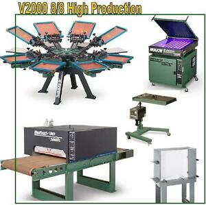 Vastex V 2000 Screen Printing Press 8 Station 8 Color High Production