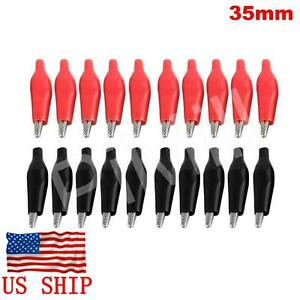 20 Pcs Alligator Clip Battery Clamp Test Probe Electrical Boot Black Red 35mm