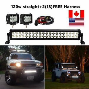 20inch Led Light Bar Spot Flood Combo 2x 4 Cree Pods Ford Suv 4wd Jeep Ute 24
