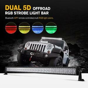 Rgb 52inch 1000w Led Light Bar Multi Color Changing Halo Ring Offroad Flash 54