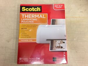 Scotch 3m Thermal Laminating Pouches 5 Mil 8 9 X 11 4 Pack Of 50 Tp5854 50