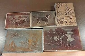 Antique Printers Block hunting Horses Dogs More Copper wood Lot Of 5