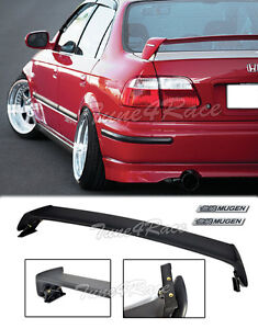 For 96 00 Honda Civic Mugen Style Trunk Wing Spoiler 4dr Sedan W Black Emblems