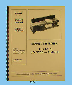 Sears Craftsman 4 Jointer 149 236220 Owners Parts List Manual 1124