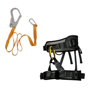 Rock Tree Climbing Sitting Harness With Safety Belt Lanyard 22kn Carabiner