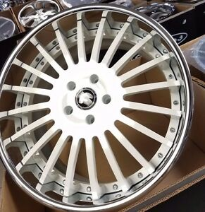 22 Forgiato Andata White Chrome Staggered 3 piece Wheels 5x130 Porsche Panamera