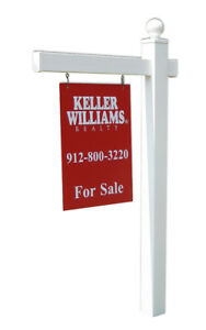 Cape Cod White Vinyl Real Estate Yard Sign Post With Easy Installation Stake