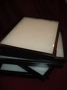Four Jewelry Display Cases Riker Mount Collectors Display Box 12 X 16 X 7 8 In