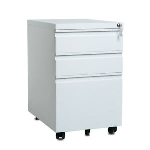 Modern Luxe 3 drawer Mobile File Cabinet With Keys Fully Assembled