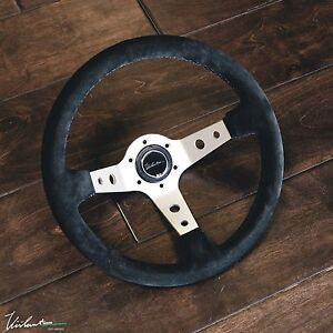 Steering Wheel Genuine Suede Black Stitch Fits Momo Viilante Tourismo 350 Nrg