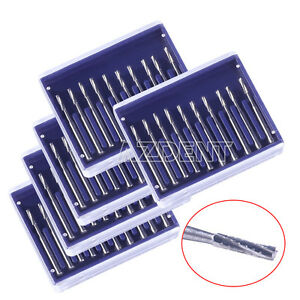 5kits Dental Carbide Tungsten Steel Burs Drill Cylinderical Fissure Type Fg557