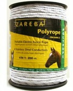 Portable Electric Fence Poly Rope Horse Stainless Steal Conductors White 656 Ft