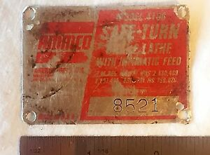 Ammco 4100 Brake Lathe Serial Number Identification Tag Plate