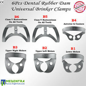 Medentra Dental Rubber Dam Clamps Brinker Clamp Tissue Premolar Clamp Molar 3pcs