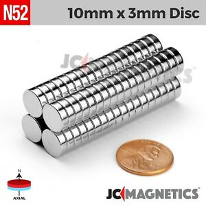 25 50 100pc 10mm X 3mm 3 8 X 1 8 N52 Strong Rare Earth Neodymium Magnet Disc