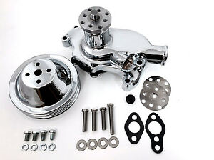 Sb Chevy Water Pump Short Sbc 350 V8 High Volume Chrome Pulley Kit 2 Grooves