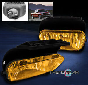 2003 2006 Chevy Silverado 2002 Avalanche Bumper Yellow Fog Lights Lamp bulb Set