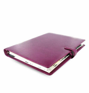 Filofax A4 Finsbury Raspberry Full Grain Leather Organiser Free P