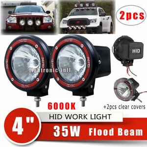 2 X 4 Inch 35w Xenon Hid Off Road Atv Tractor Boat Flood Beam Round Lights 6000k