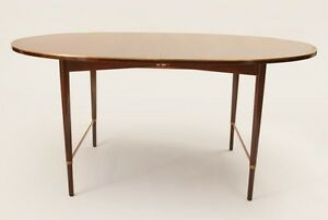 Paul Mccobb Brass Mounted Stained Mahogany Dining Table Mid Century Modern