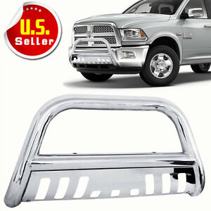 Steel Bull Bar Brush Bumper Grille Guard With Skid For 09 18 Dodge Ram 1500