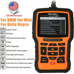For Bmw Mini Diagnostic Scan Tool Abs Srs Airbag Obd2 Code Reader Foxwell Nt510