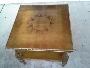 Pair Of Mid Century Hollywood Regency Gold Leaf Glass Top Side Tables