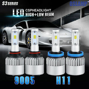 Cree 9005 H11 Led Headlight 4x 480w 48000lm Combo Kit 6500k High Low Beam Bulbs