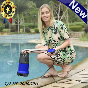 Powerful 2000gph Electric Submersible Water Pump 6ft Cable Pool Pond Drain