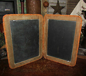 Primitive Antique Vtg 1900 Child School Desk Double Chalkboard Slate Blackboard