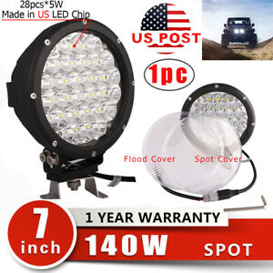 7inch 140w Round Led Work Light Spot Driving Fog Lamp Offroad Jeep Camper 4wd