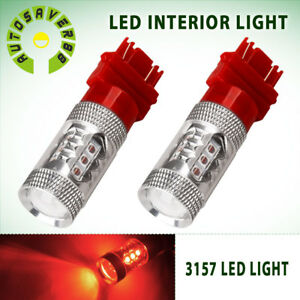 2x Red 3157 3156 High Power 80w Led Turn Signal Sider Marker Light Bulb