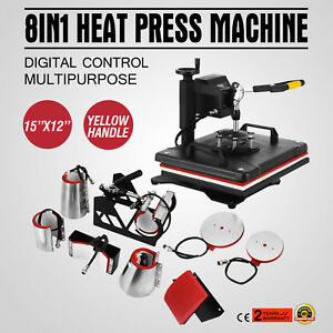 8in1 Digital Heat Press Machine Transfer Printing T shirt Cap Multifunctional
