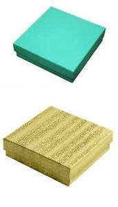 100 Gold 100 Teal Cotton Fill Jewelry Packaging Gift Boxes 3 1 2 X 3 1 2 X 1