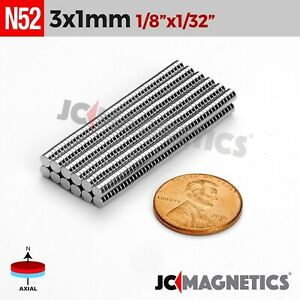 50 100 1000pcs 3mm X 1mm 1 8 x1 32 N52 Rare Earth Neodymium Crafts Magnet Disc