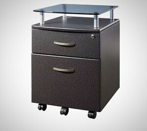 File Cabinet Glass Shelf Drawers Storage Rolling Home Office Locking Furniture