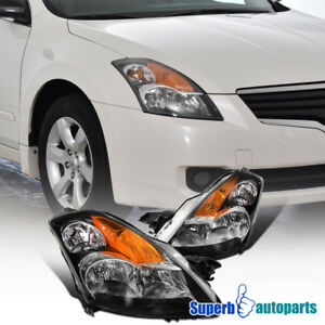 For 2007 2009 Nissan Altima 4dr Black Headlights Pair
