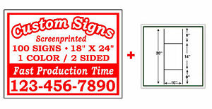 100 18x24 Custom Printed Double Sided Corrugated Plastic Yard Signs Wire Stands