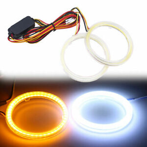 2 Pcs Cob Led Angel Eyes Ring Light Drive White Yellow Turn Signal Halo 70mm