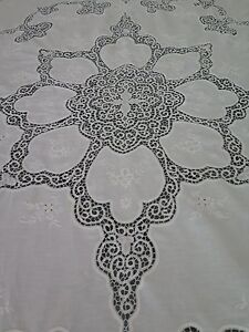Vtg Antique Cantu Tape Lace White Banquet Tablecloth Or Coverlet 94 X 106