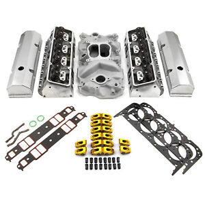 Fit Chevy Sbc 350 Hyd Ft 220cc Angle Plug Cylinder Head Top End Engine Combo Kit