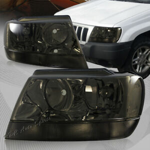 For 1999 2004 Jeep Grand Cherokee Smoke Housing Headlights W Clear Reflector